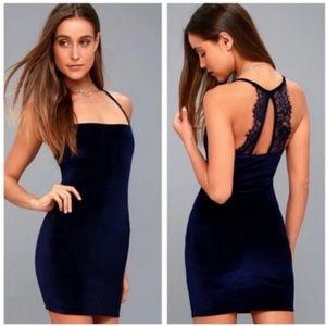 LULUS | Navy Velvet Lace Back Dress | M